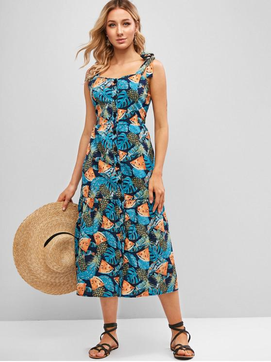 best Pineapple Print Tie Strap Button Front Dress - MULTI-A L