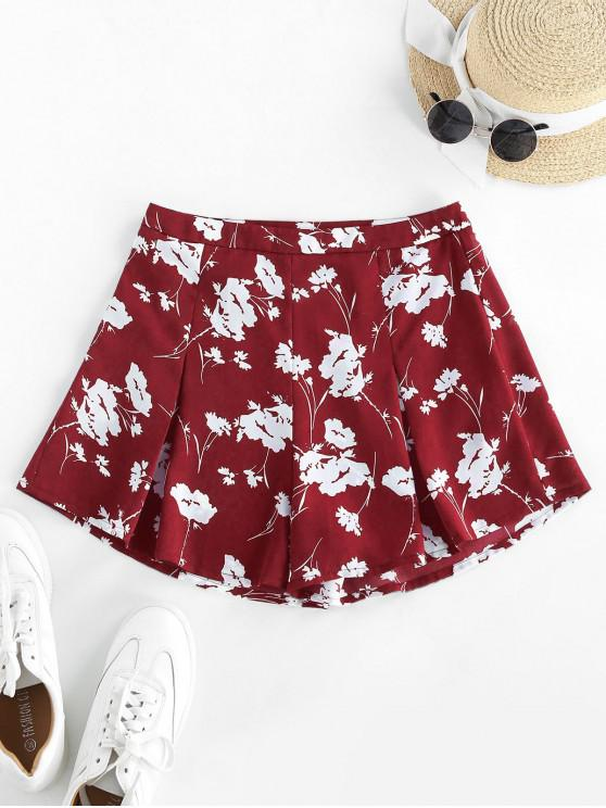 ZAFUL Flower High Waisted Wide Leg Shorts - أحمر M