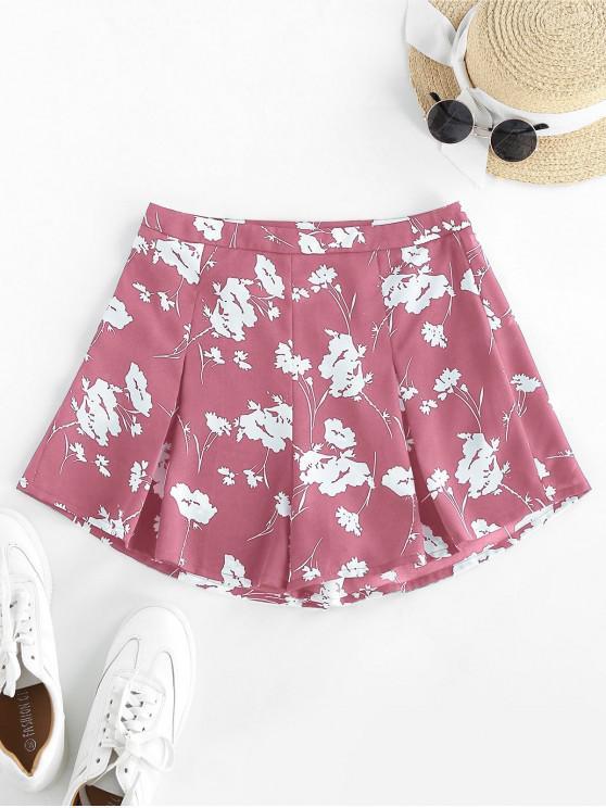 ZAFUL Blumen Shorts mit Hoher Taille und Weitem Bein - Rosa L