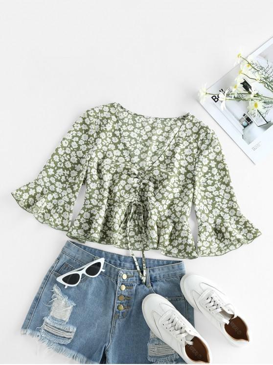 fashion ZAFUL Cinched Ditsy Print Bell Sleeve Blouse - AVOCADO GREEN S