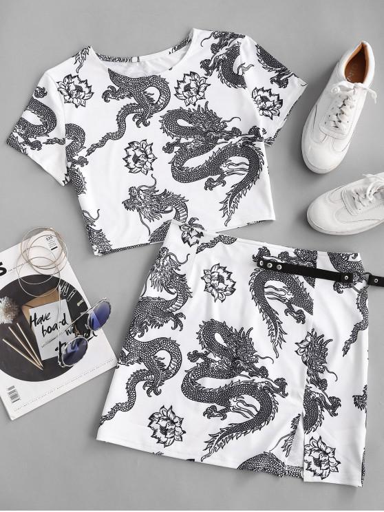 fancy Oriental Dragon Print Two Piece Dress - WHITE M