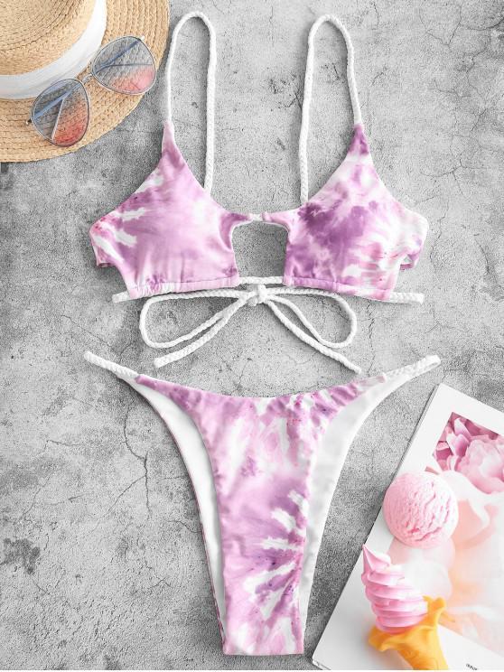 ZAFUL Tie Dye Colaj Vanisată Bikini Costume de baie - Mov L