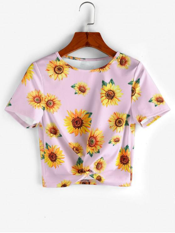 chic ZAFUL Sunflower Print  Front Twist Cropped T Shirt - PIG PINK S