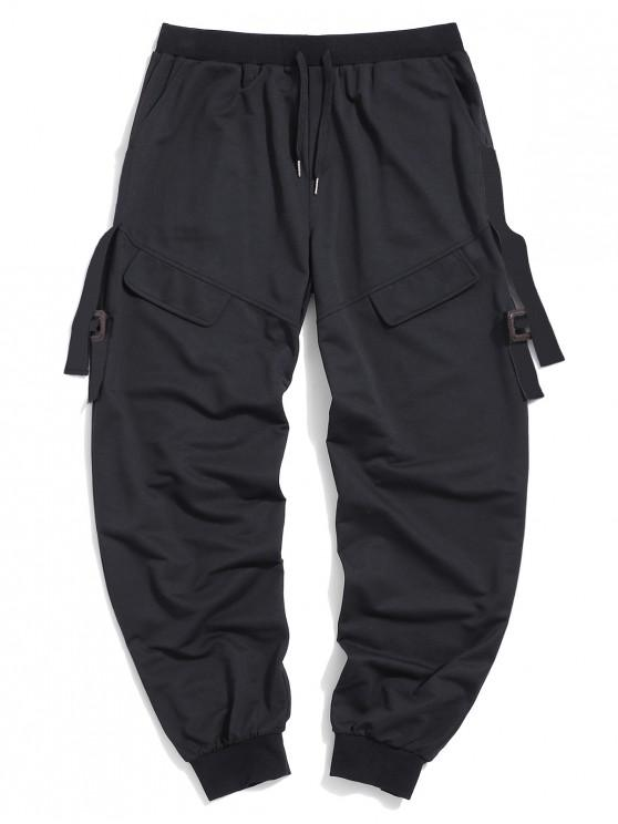chic ZAFUL Letter Ribbon Flap Mock Pocket Cargo Pants - BLACK XL