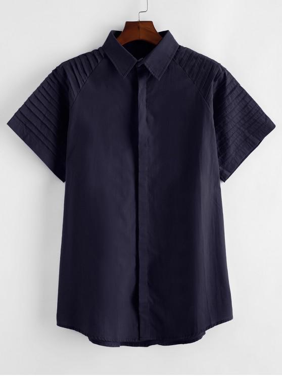 shops Pure Color Pleated Shoulder Button Up Shirt - CADETBLUE 2XL