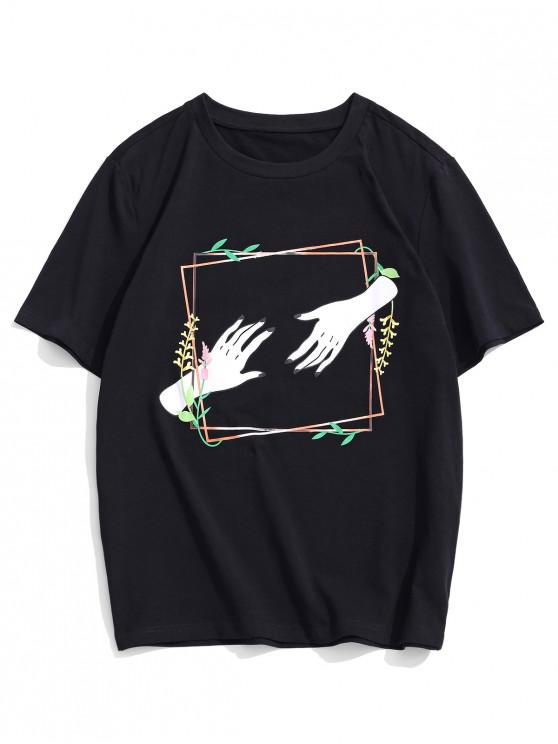 ZAFUL Floral Hand Print Short Sleeves T-shirt - أسود S