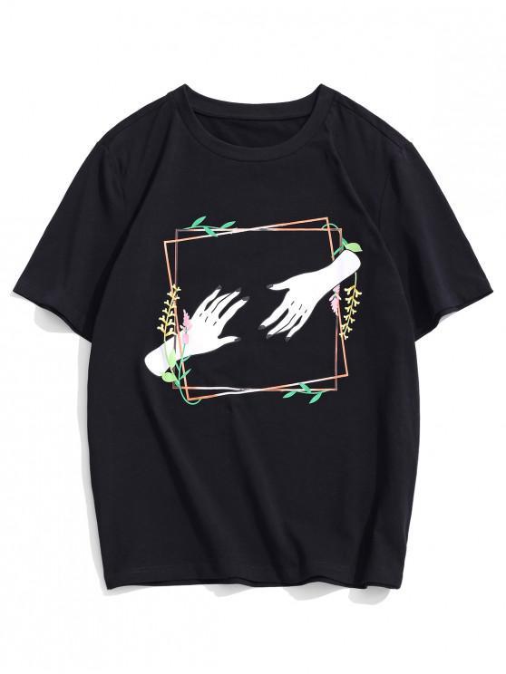 women ZAFUL Floral Hand Print Short Sleeves T-shirt - BLACK XL