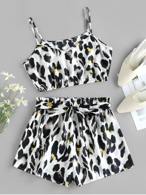 fashion ZAFUL Leopard Cropped Belted Two Piece Set - WHITE M