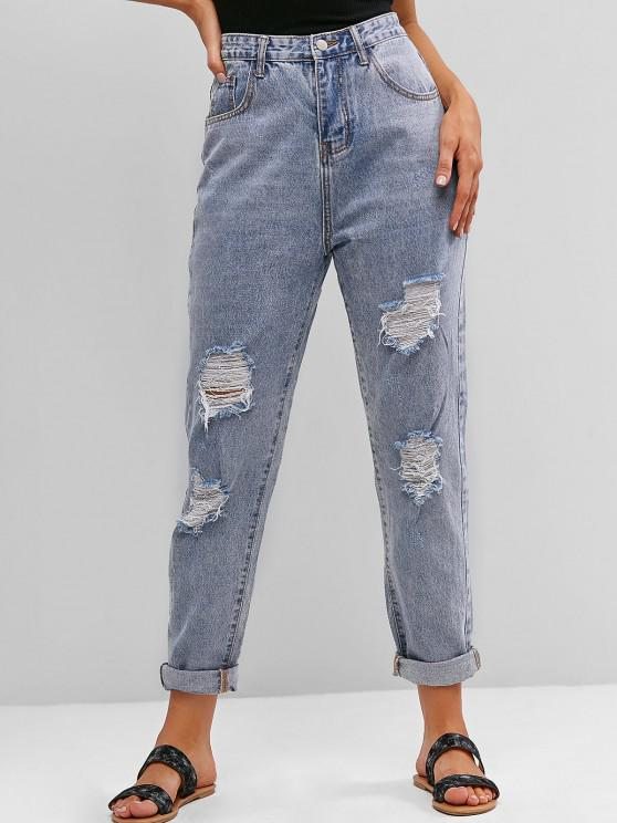 buy Ripped High Waisted Boyfriend Jeans - JEANS BLUE S