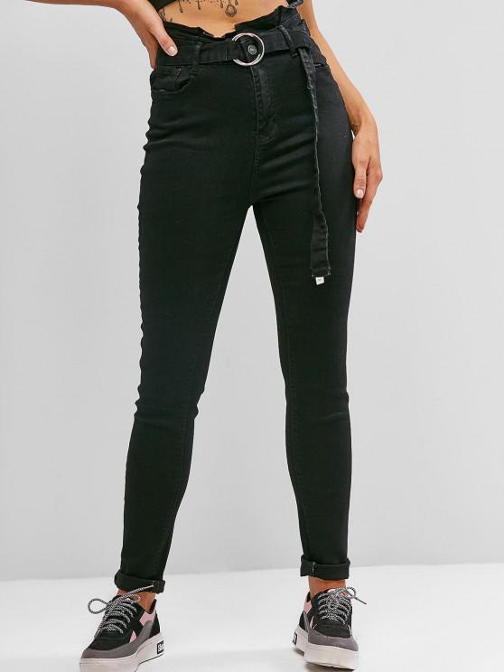 Jeans Ajustado Cintura Alta y Cinto - Negro M