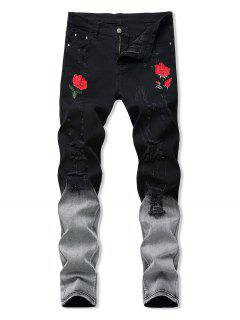 Floral Embroidered Ripped Design Jeans - Ash Gray 40