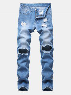 Einfarbige Zerstörte Reißverschluss Jeans - Jeans Blau 32