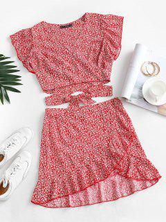 Ditsy Print Ruffle Wrap Two Piece Dress - Red S