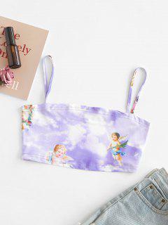 Angel Sky Print Crop Cami Top - Purple Mimosa S