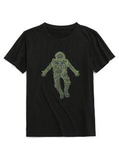 ZAFUL Digital Astronaut Print Basic T-shirt - Black 2xl