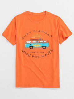 ZAFUL Letter Bus Print Short Sleeves T-shirt - Orange S