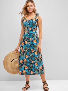 Pineapple Print Tie Strap Button Front Dress - Multi-a M