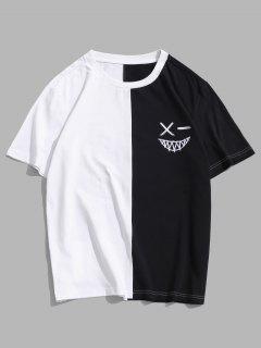 ZAFUL Color Blocking Round Neck T-shirt - White M