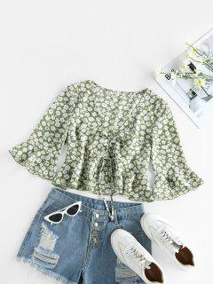 ZAFUL Cinched Ditsy Print Bell Sleeve Blouse - Avocado Green Xl