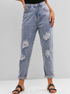 Ripped High Waisted Boyfriend Jeans - Jeans Blue L