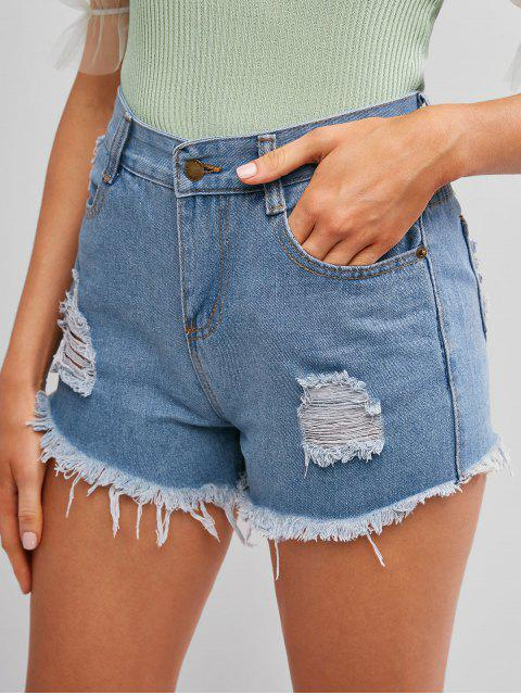 shop Frayed Hem Ripped Denim Cutoff Shorts - JEANS BLUE M Mobile