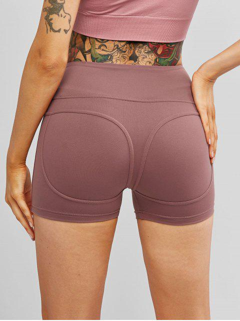 sale Stitching Running Sports Biker Shorts - ROSY BROWN M Mobile