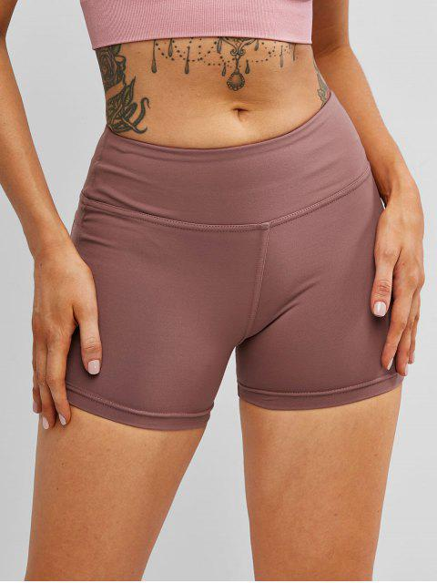best Stitching Running Sports Biker Shorts - ROSY BROWN XL Mobile