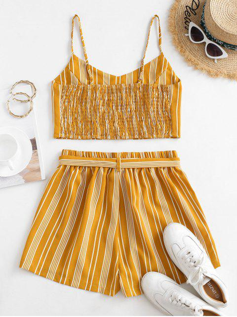 fancy Striped Smocked Co Ord Set - YELLOW S Mobile