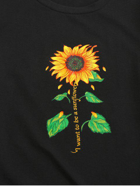 T-Shirt Stampata a Lettere con Maniche Corte di ZAFUL - Nero 2XL Mobile