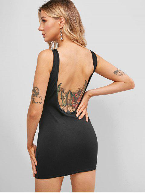 women's Full Zip Backless Mini Tank Dress - BLACK L Mobile