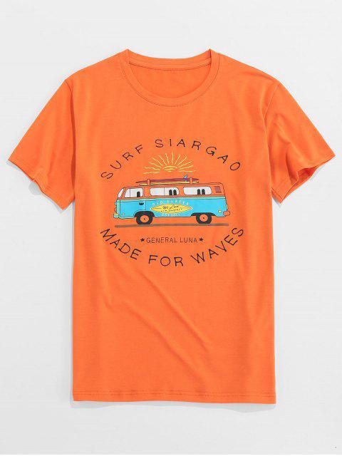 ZAFUL Letter Bus Print Short Sleeves T-shirt - البرتقالي S Mobile