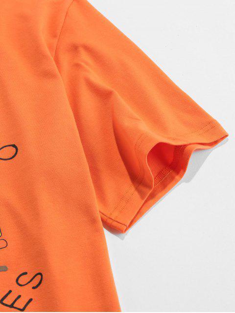 T-Shirt Stampata a Lettere con Maniche Corte di ZAFUL - Arancio S Mobile