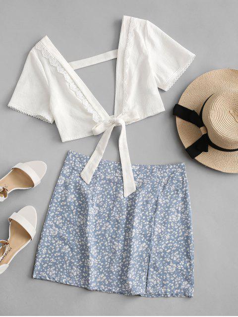 buy Ditsy Print Slit Tie Front Crochet Insert Skirt Set - PASTEL BLUE XL Mobile