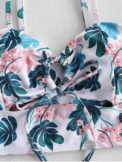 ZAFUL Tropischer Druck Schlüsselloch Tankini Badebekleidung mit Hoher Taille - Pfauenblau S Mobile