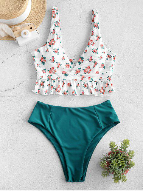 trendy ZAFUL Ribbed Flower Print Ruffle High Leg Tankini Swimwear - WHITE L Mobile