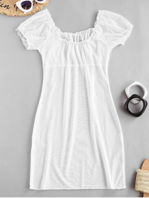 Robe Plissée en Maille Transparente - Blanc L Mobile