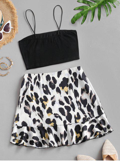 Zweiteiliges Geripptes Leopard Rüschen Kleid - Schwarz M Mobile