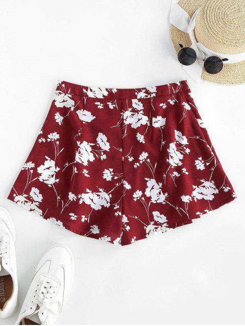 ladies ZAFUL Flower High Waisted Wide Leg Shorts - RED XL Mobile