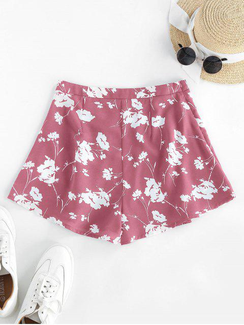 lady ZAFUL Flower High Waisted Wide Leg Shorts - PINK L Mobile