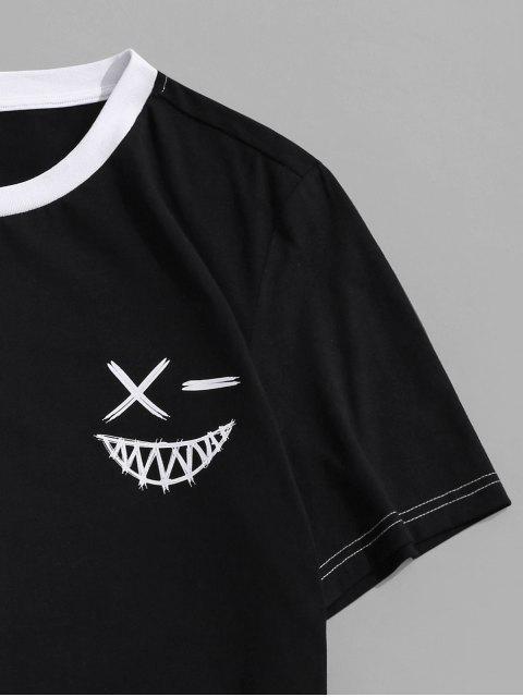 T-Shirt a Blocchi di Colore a Girocollo di ZAFUL - Bianca M Mobile