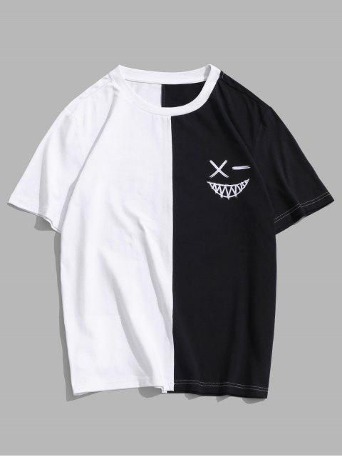 unique ZAFUL Color Blocking Round Neck T-shirt - WHITE 2XL Mobile