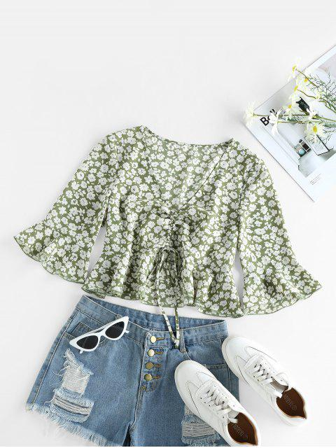 latest ZAFUL Cinched Ditsy Print Bell Sleeve Blouse - AVOCADO GREEN M Mobile
