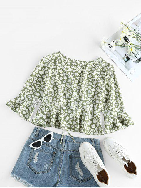 fashion ZAFUL Cinched Ditsy Print Bell Sleeve Blouse - AVOCADO GREEN S Mobile