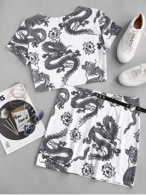 Vestido Duas Peças Oriental com Impressão de Dragão - Branco S Mobile