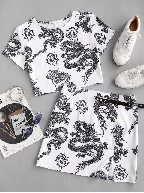 fancy Oriental Dragon Print Two Piece Dress - WHITE M Mobile
