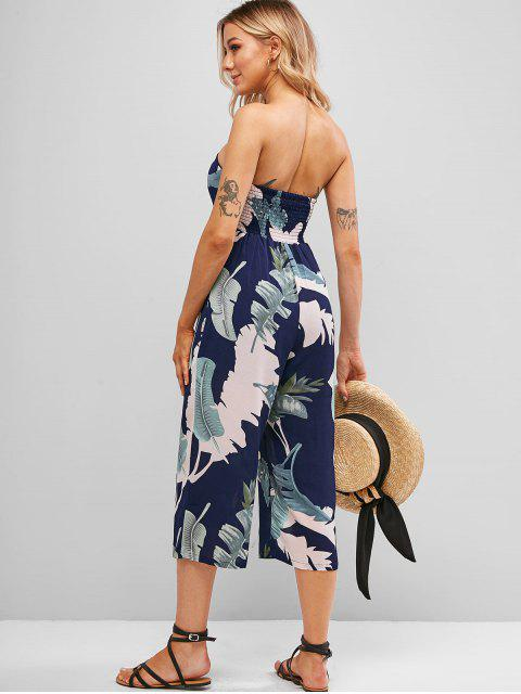 shops Smocked Back Leaves Print Strapless Jumpsuit - MIDNIGHT BLUE S Mobile