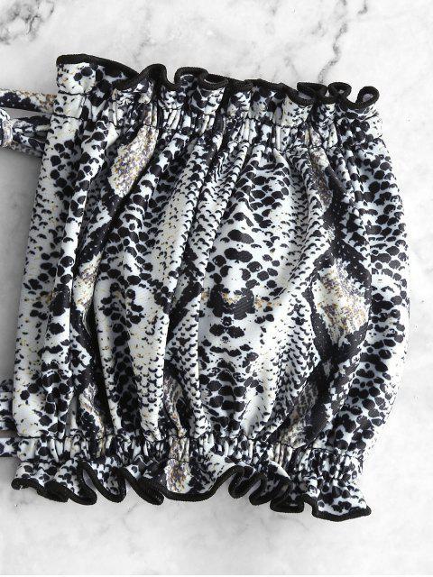 shop ZAFUL Tie Frilled Animal Print Bikini Swimsuit - MULTI-A S Mobile