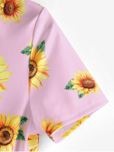 chic ZAFUL Sunflower Print  Front Twist Cropped T Shirt - PIG PINK S Mobile