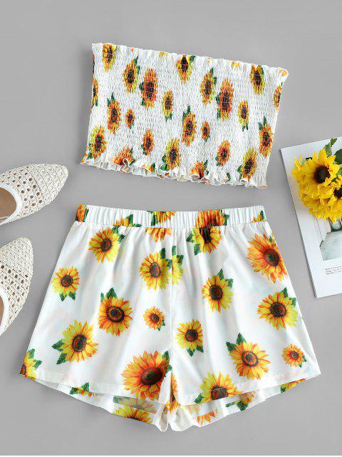 best ZAFUL Sunflower Print Bandeau Smocked Ruffle Shorts Set - WHITE M Mobile