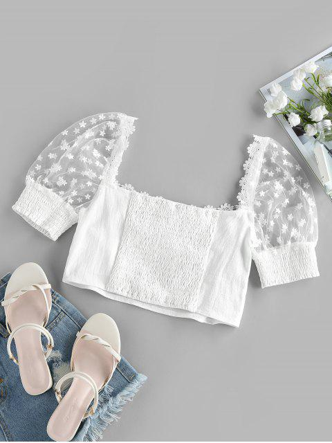 online ZAFUL Lace Insert Flower Embroidered Ruched Crop Blouse - WHITE XL Mobile